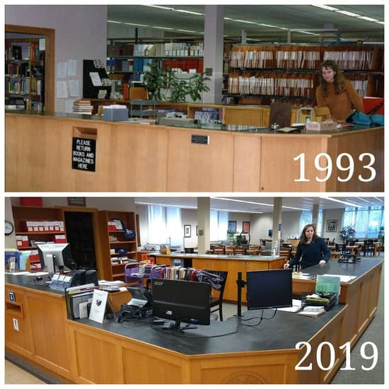 Library Desk Now and Then