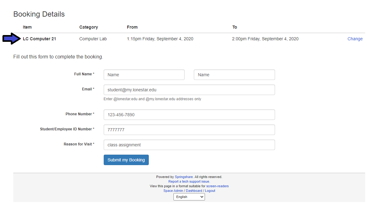Booking details screenshot with arrow pointing at appointment details