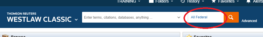 Westlaw search box with Jurisdiction circled