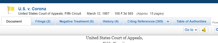 screenshot of the tabs for a case report in Westlaw