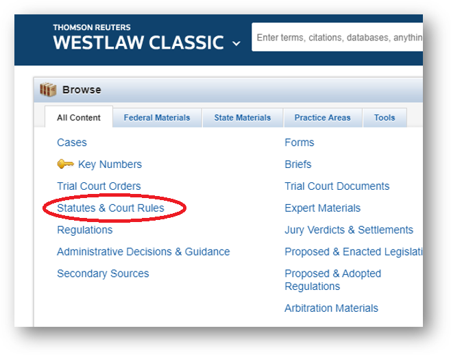 Westlaw Browse Statutes