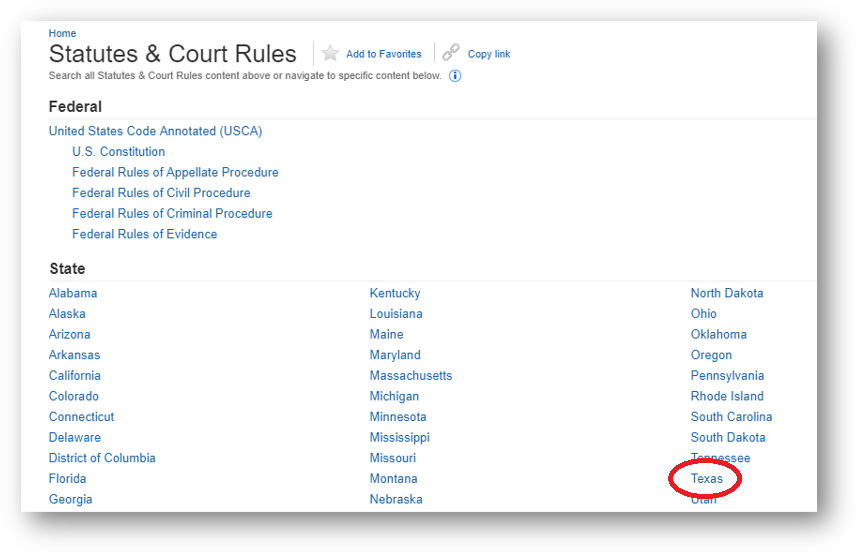 Westlaw Statutes & Court Rules page with arrow to Texas