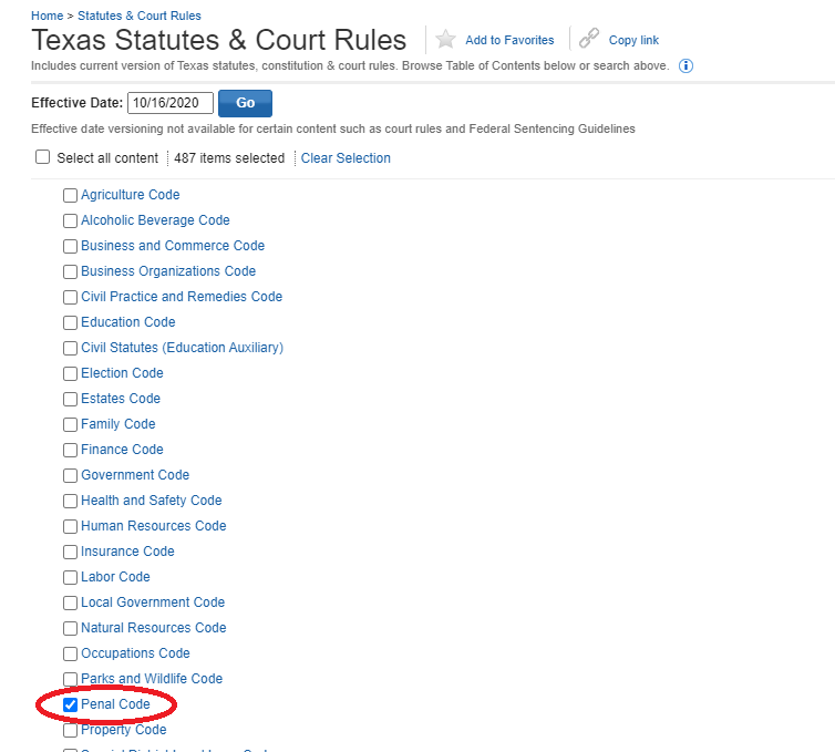 Westlaw Texas Statutes & Court Rules Page with circle around Penal Code