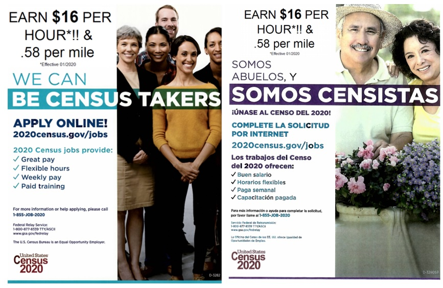 The United States Census Bureau is recruiting individuals to assist in collecting information for the 2020 census. Census enumerator positions begin at $16.00 per hour effective Jan 2020.  If you'd like to apply go to https://2020census.gov/jobs
