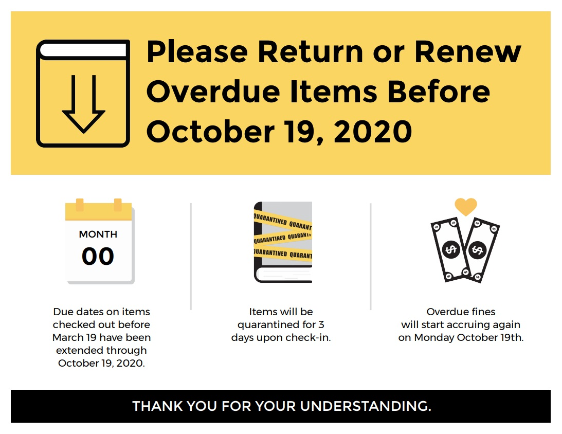 Please Return or Renew Overdue Items Before October 19, 2020.  Due dates on items checked out before March 19 have been extended through October 19, 2020. Items will be quarantined for 3 days upon check-in.   Overdue fines will start accruing again on Monday October 19th.