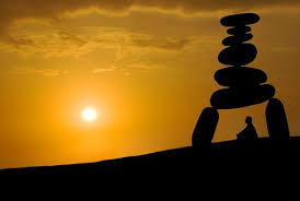 Meditation under rocks image