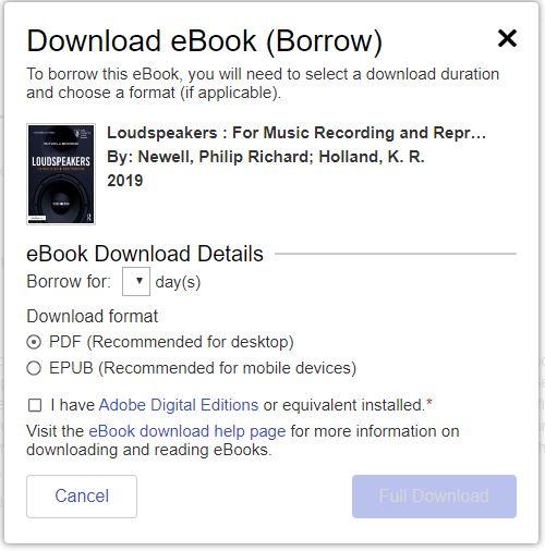 EBSCO eBook download options