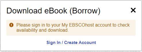 EBSCO eBook popup
