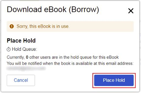 EBSCO eBook on hold