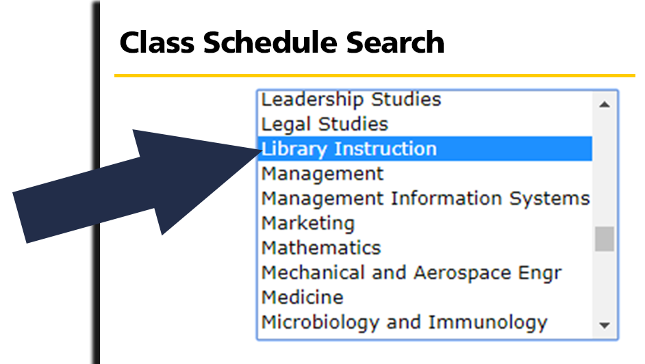 picture of class schedule search box with arrow pointing to Library Instruction