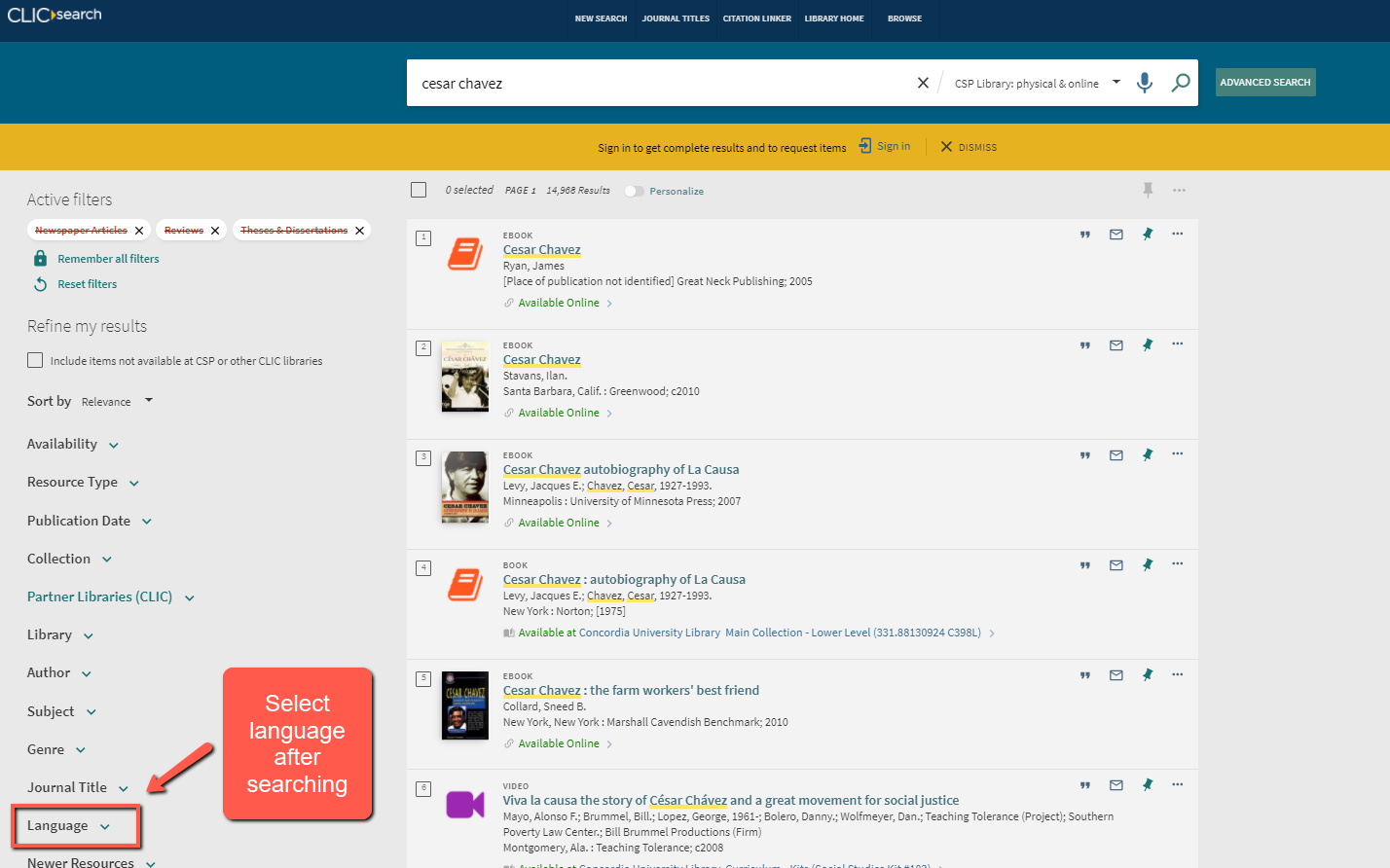 screenshot of OneSearch showing how to change the language filter