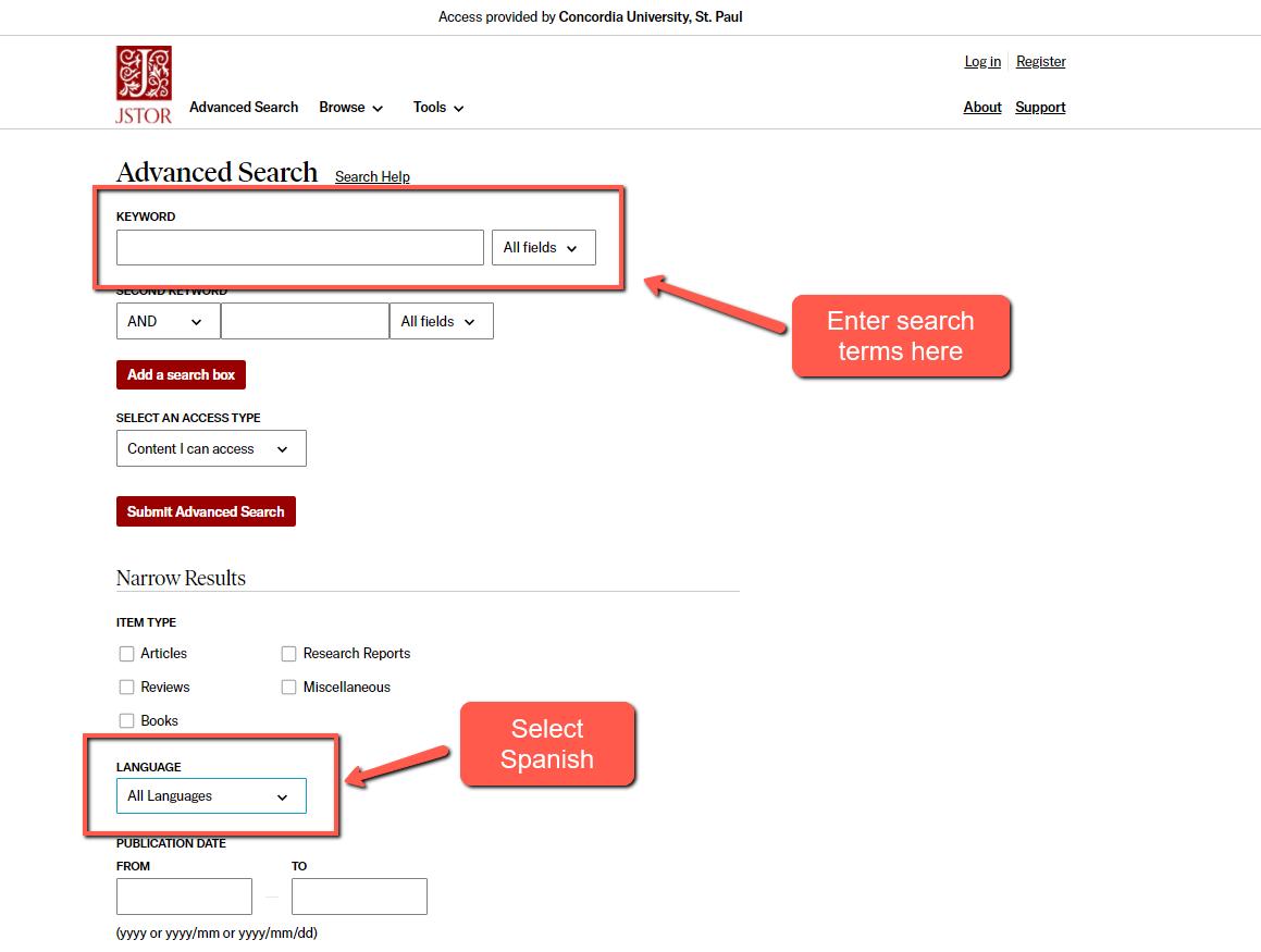 screenshot of JSTOR advanced search