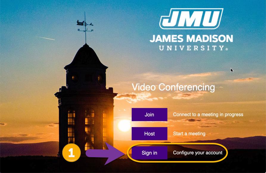 screenshot of JMU Zoom Sign In Page