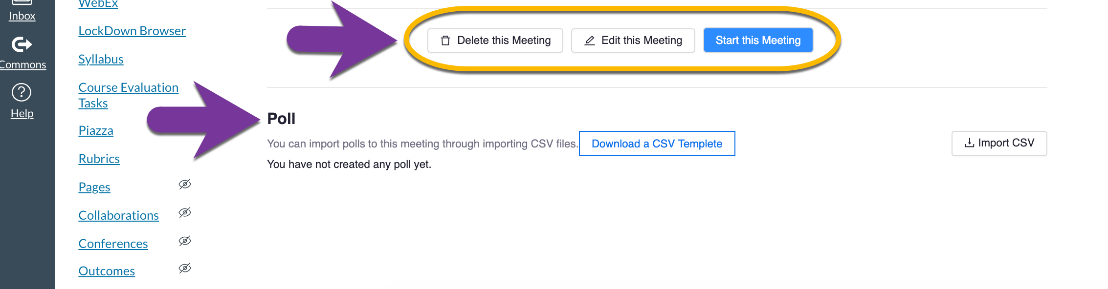 screenshot showing how to add polls to meeting