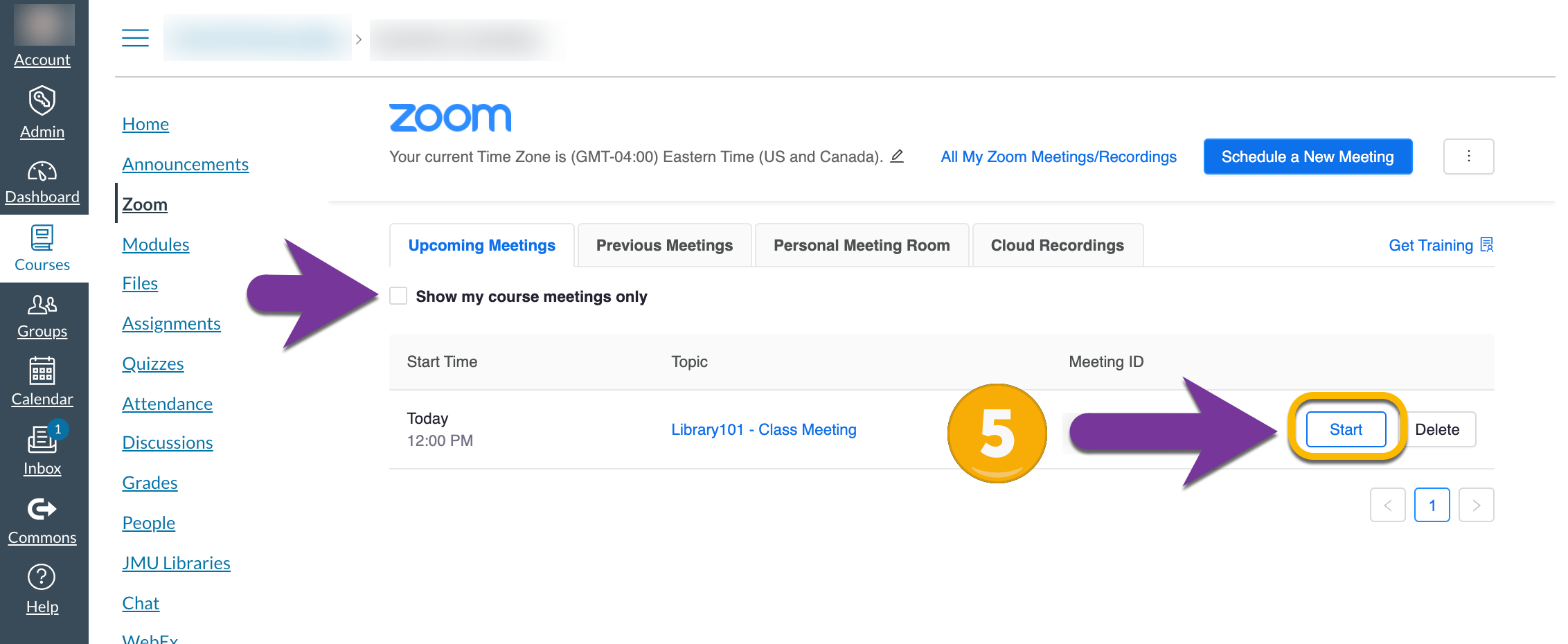 """screenshot of """"show my course meetings only"""" option and """"Start"""""""