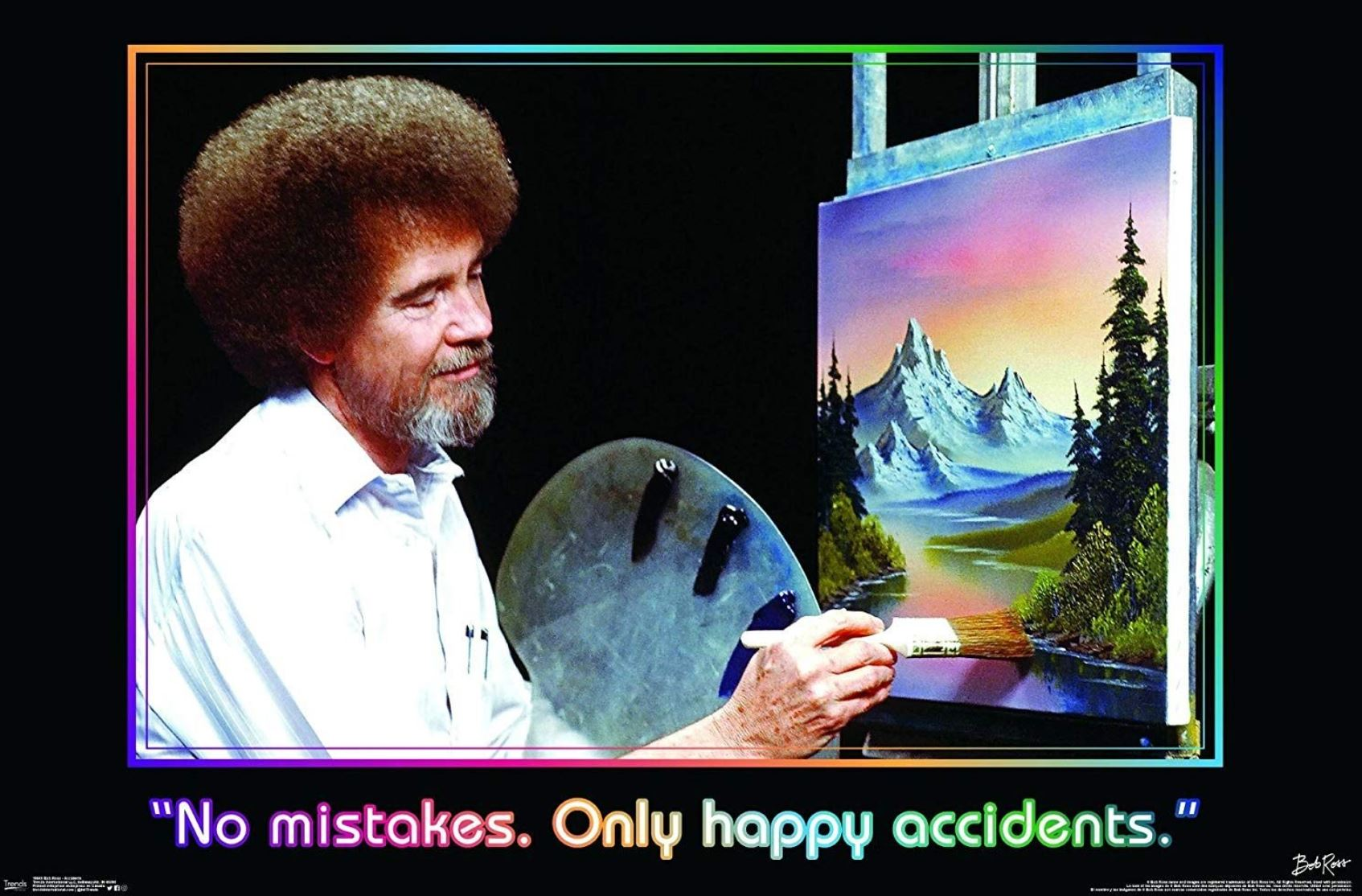 Image of Painter Bob Ross painting a landscape with mountains and trees