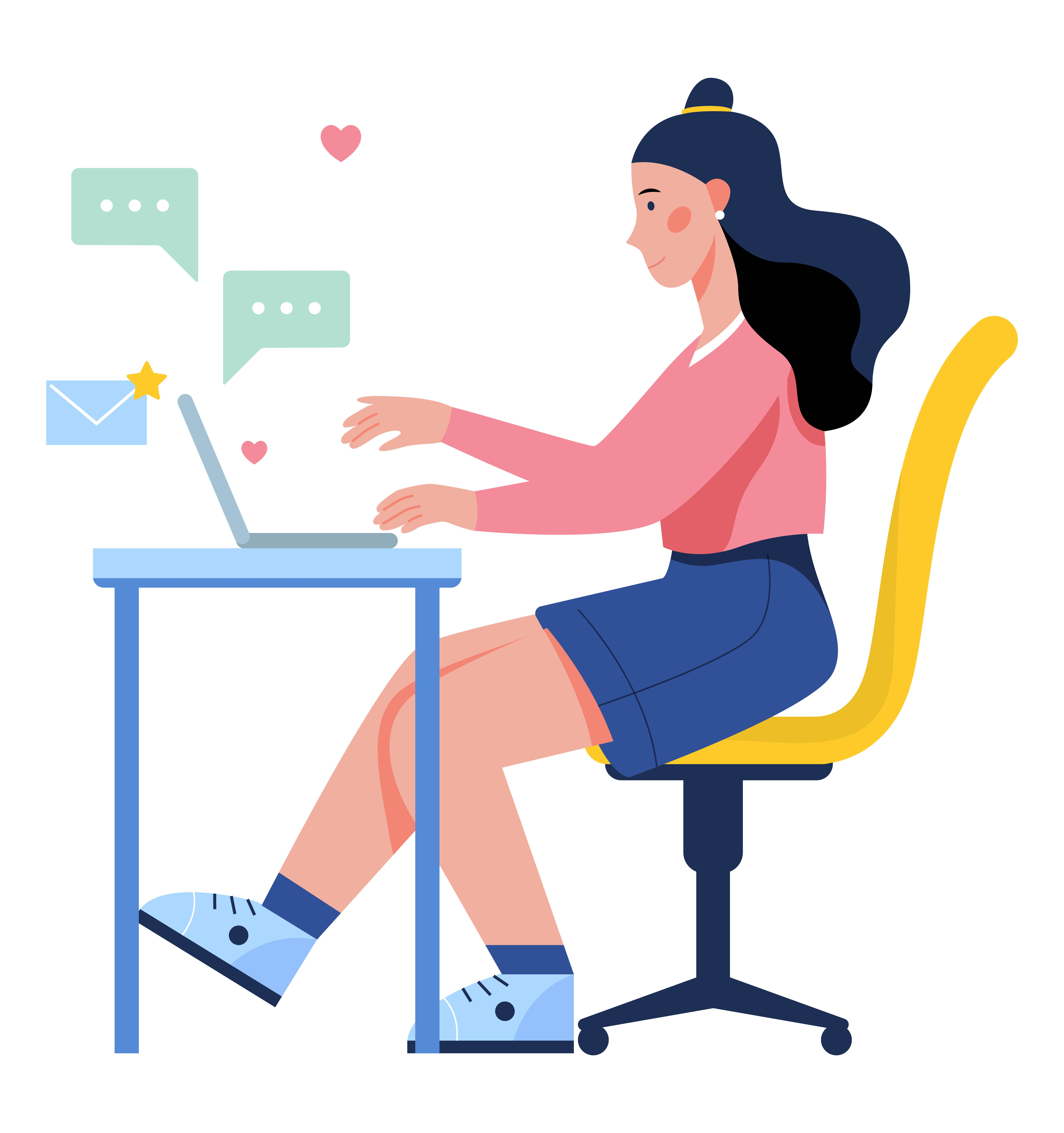 Illustration of a girl sitting at a desk with her laptop and sending messages
