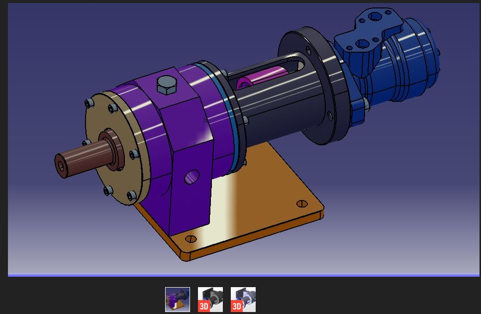Screenshot of a CAD file of a hydraulic compressor motor from the site grabcad (see below for link).  3D files are especially useful.