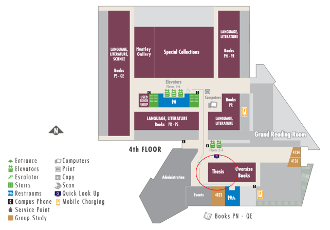 Map of theses and projects (4th floor of Library)