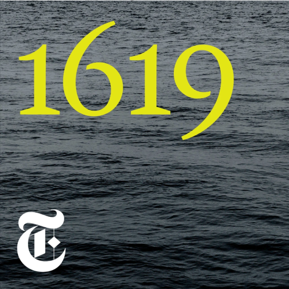 logo of the 1619 project podcast. Yellow numbers 1619 set against the sea with a calligraphy T in the corner