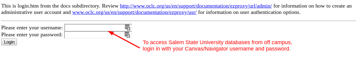 off campus database access screenshot