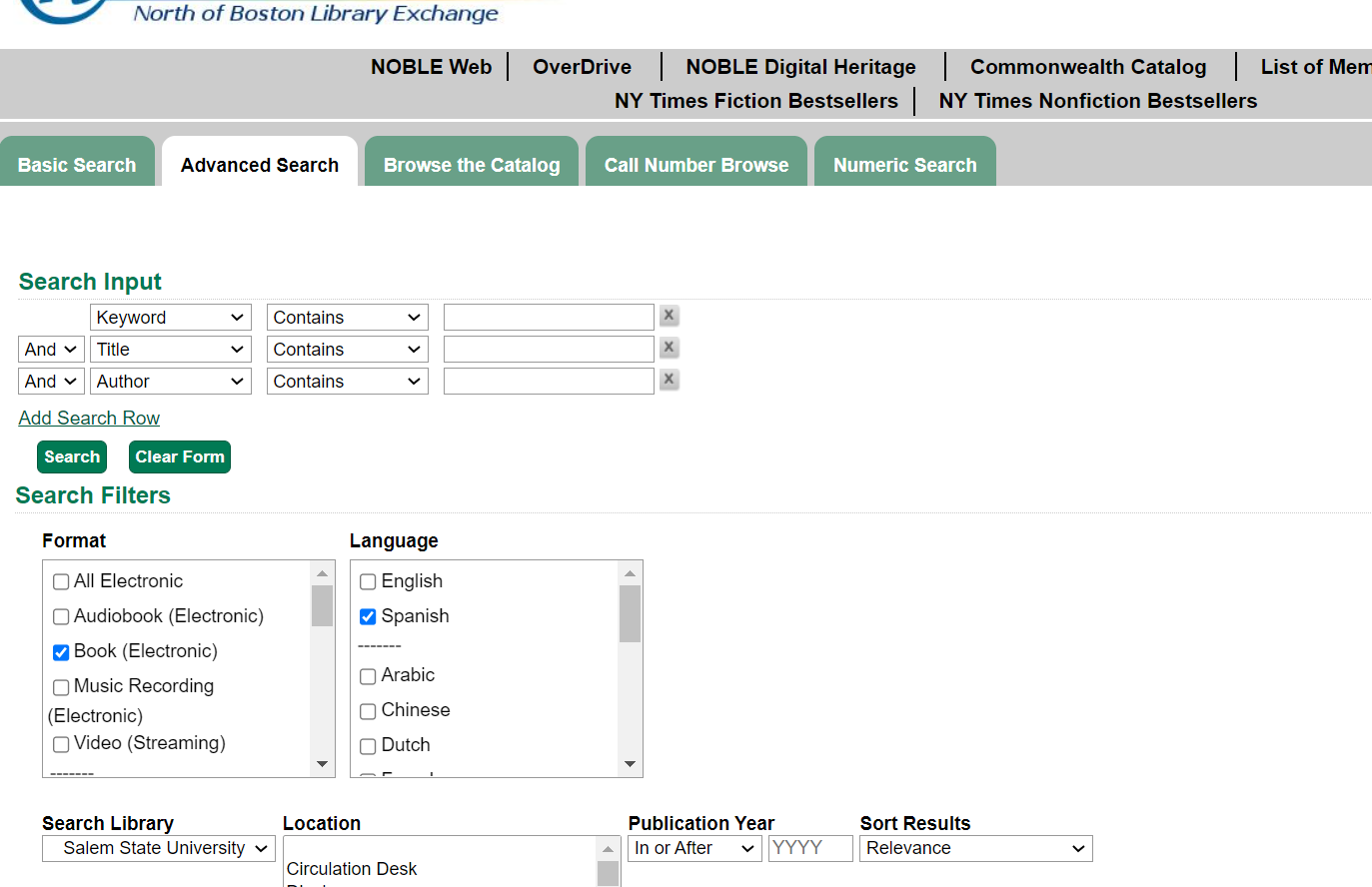 screenshot of NOBLE catalog advanced search