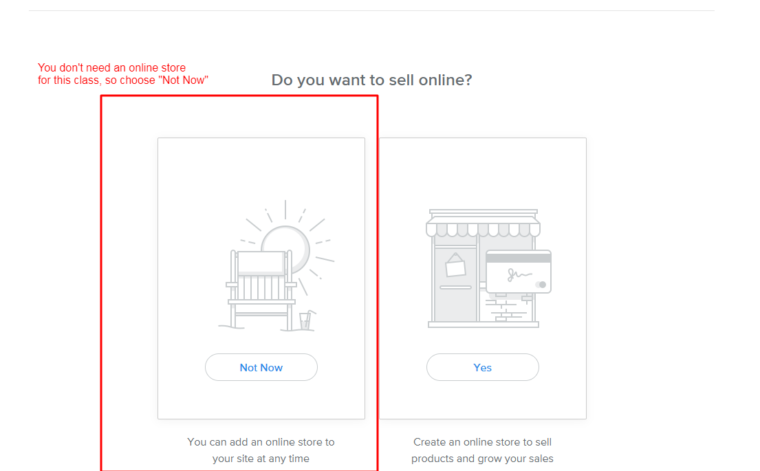 "Screenshot of Weebly page asking ""Do you want to sell online?"""