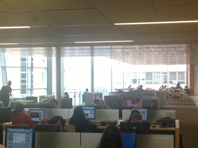 A view of students studying on second floor