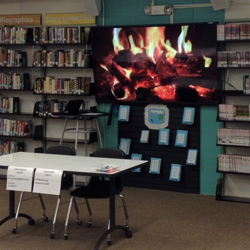 Fireplace look on screen at O'Neill HS