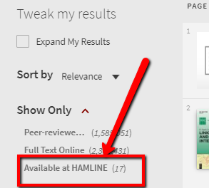 Limit results to  only Available at Hamline U.