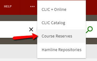 course reserves drop-down