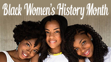 Black Women's History Month page header with photo of women
