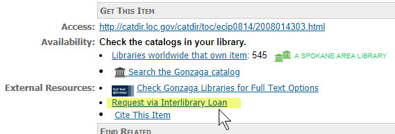 Interlibrary Loan link in a WorldCat Record