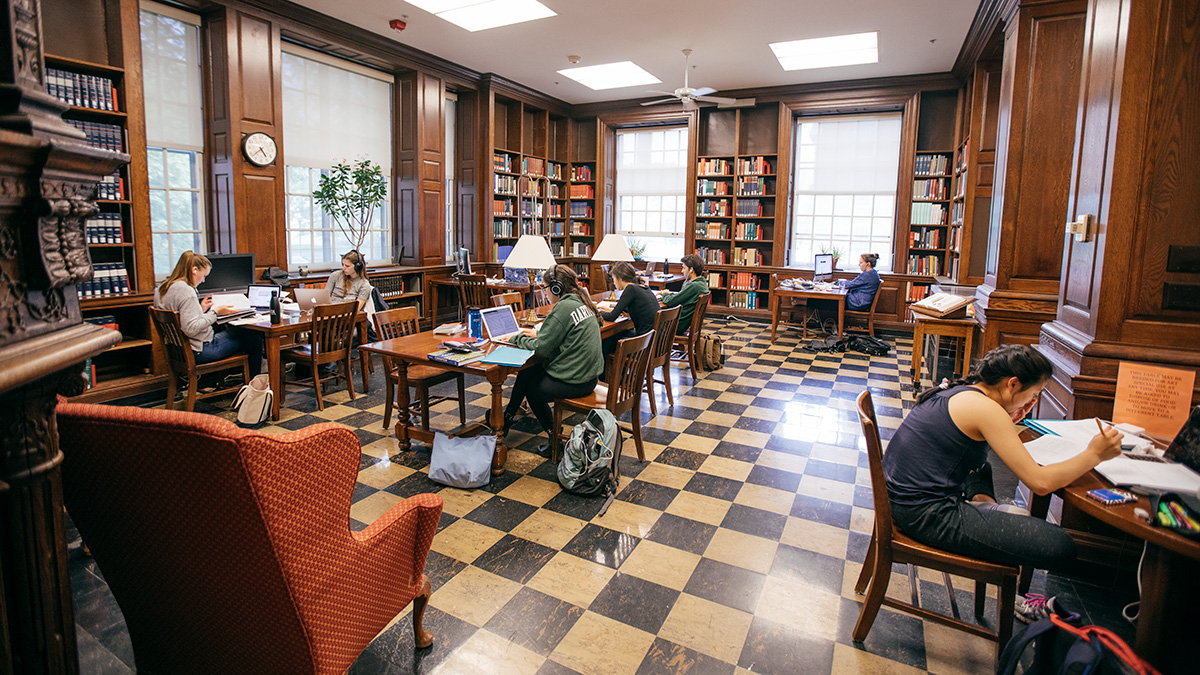 Students studying in Sherman Library