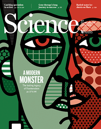 Cover image of Science Magazine's January 12, 2018 issue is a graphic depiction of Frankenstein's monster