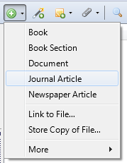 journal article option in drop-down menu to manually add source to Zotero