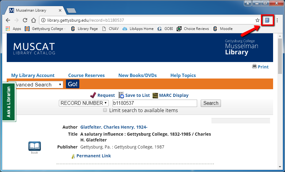 Image of browser window with red arrow indicating book icon to the right of the address bar, which you can click to download citation information