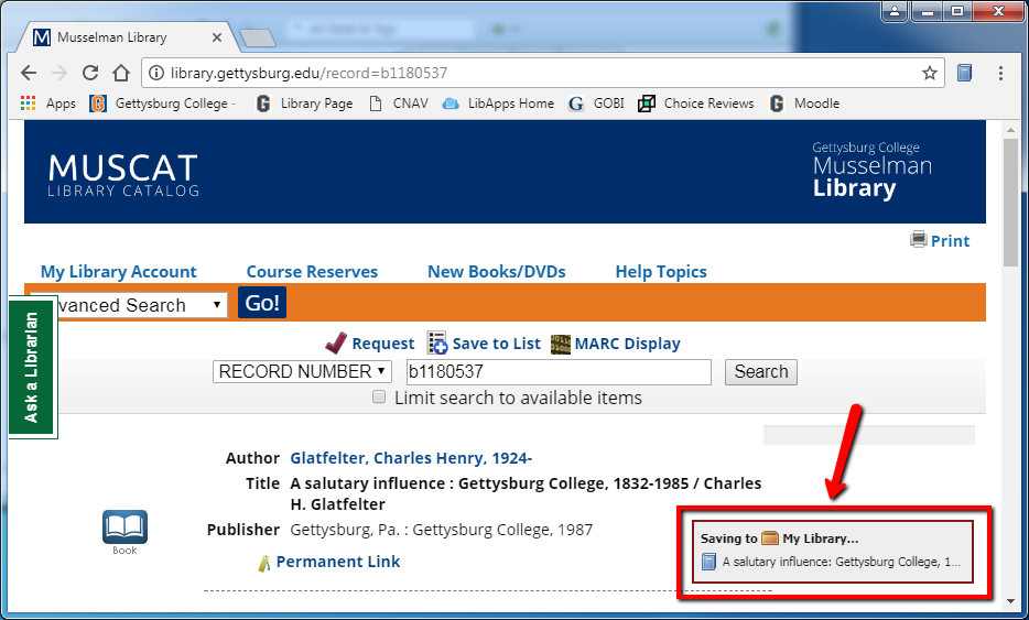 Image with red arrow pointing to a text book that appears in lower right of browser window when bibliographic data is being downloaded