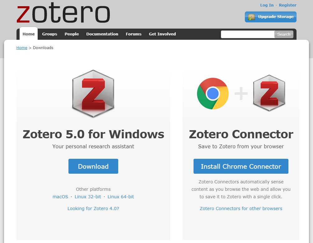 Screenshot of Zotero downloads page with options for windows and browser connections