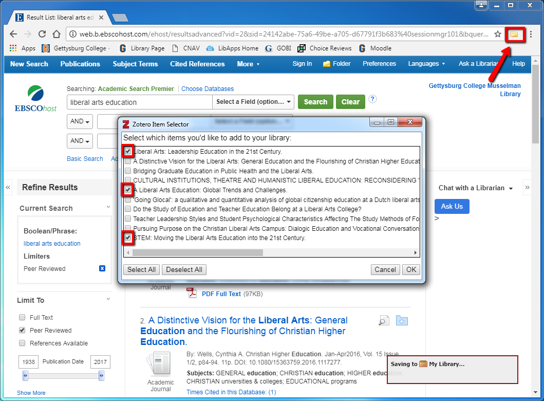 Screenshot demonstrating where to click to save multiple citations listed on one screen