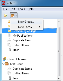 Screenshot showing how to create a new group