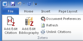 Screenshot of Microsoft Word toolbar with Write and Cite buttons