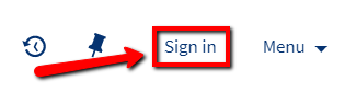 Arrow pointing to Sign In link in top menu bar