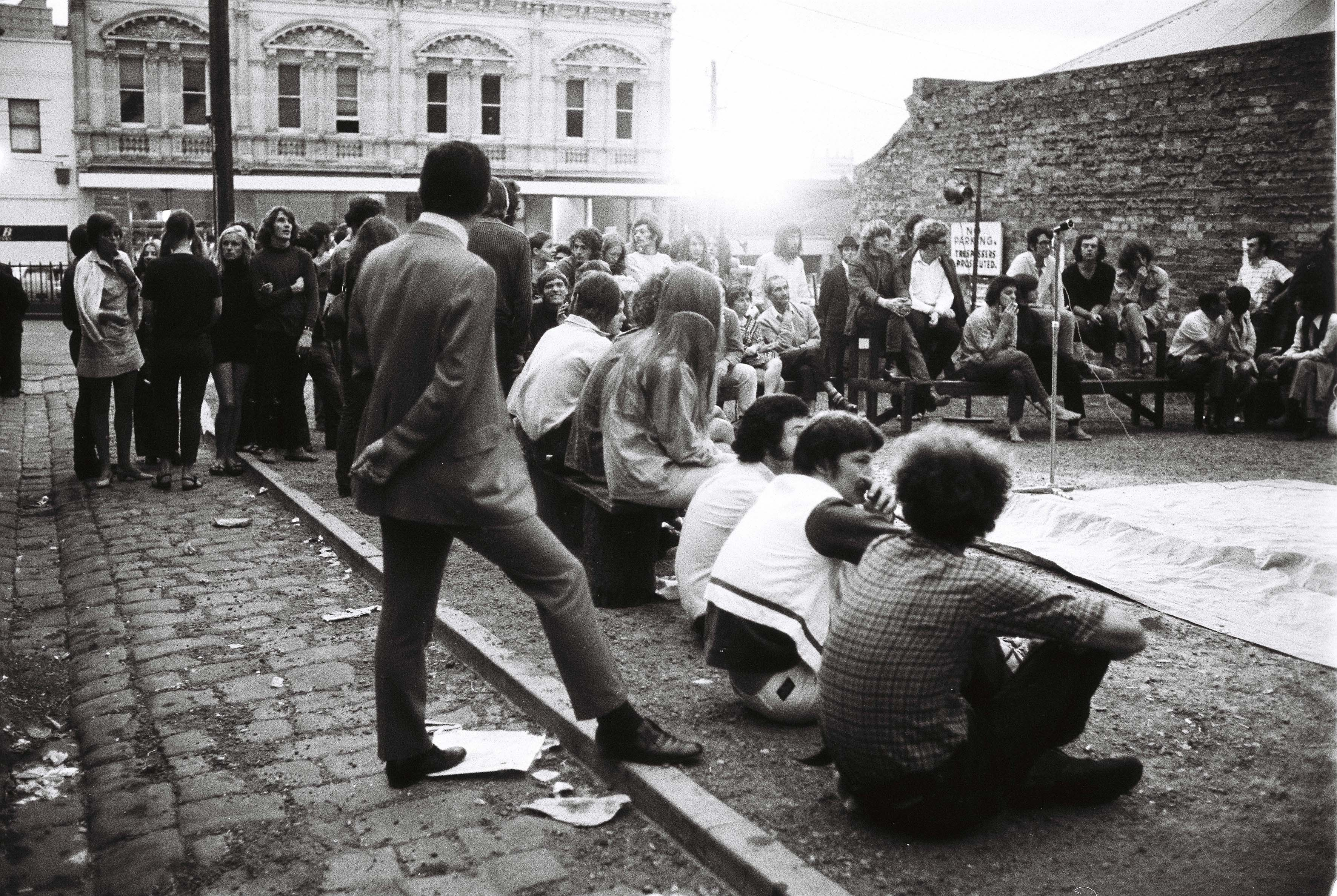 Audience outside at performance of