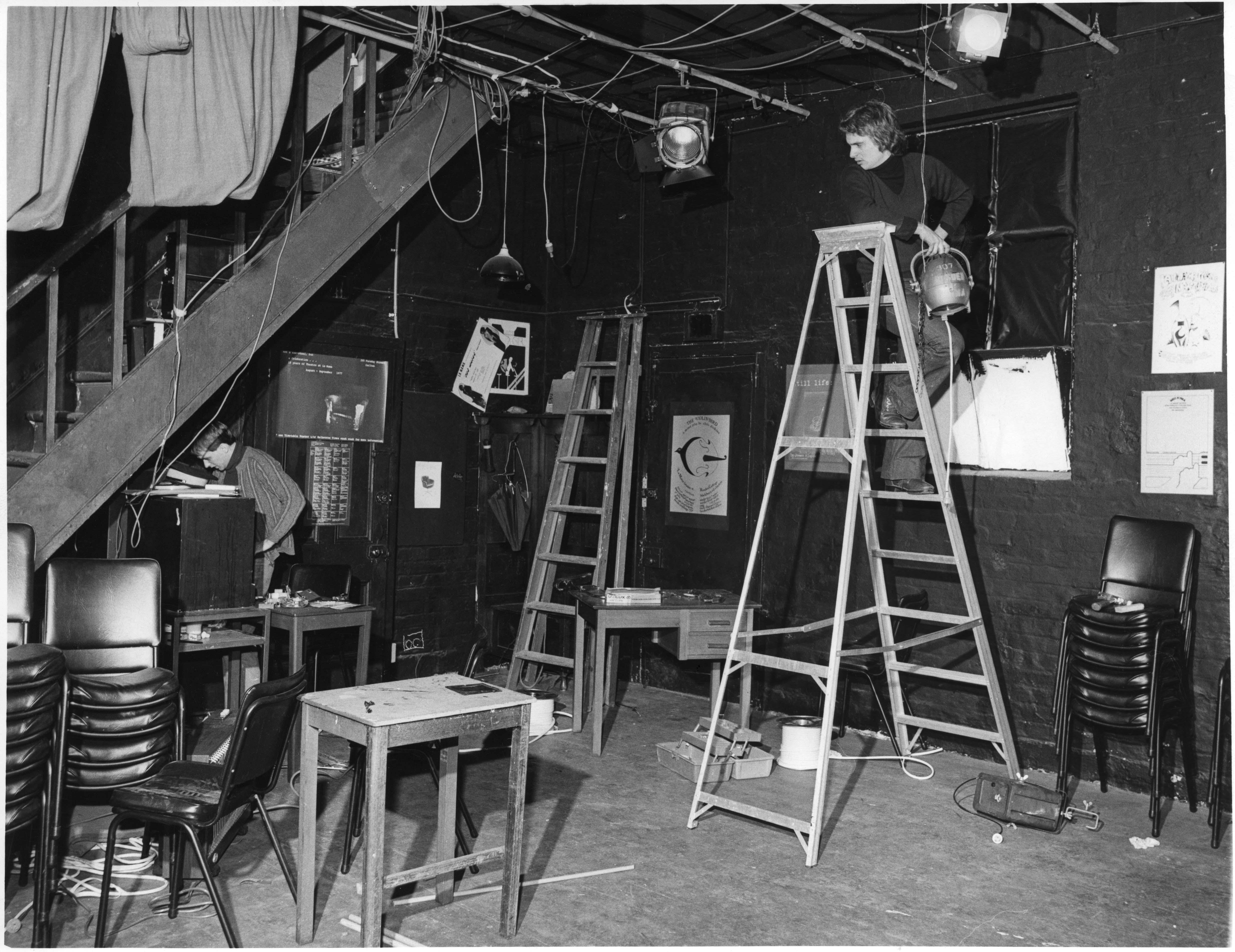 Inside La Mama Theatre during a bump