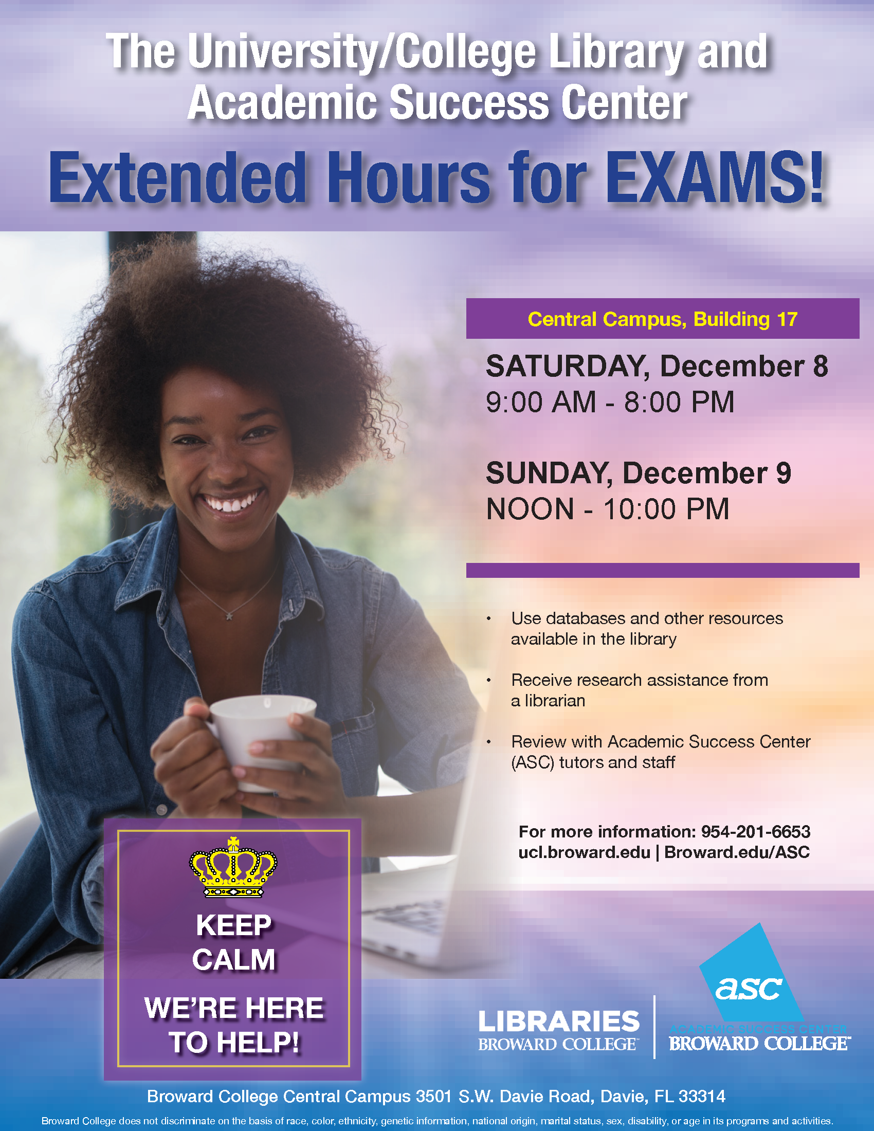 University/College Library Extended hours: Noon - 10pm