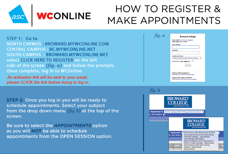 Steps 1 & 2 of How to Make an Appointment with the ASC tutors