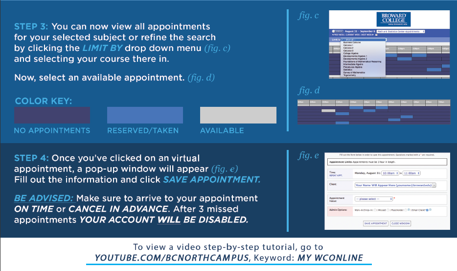 Steps 3 & 4 of How to Make an Appointment with the ASC tutors