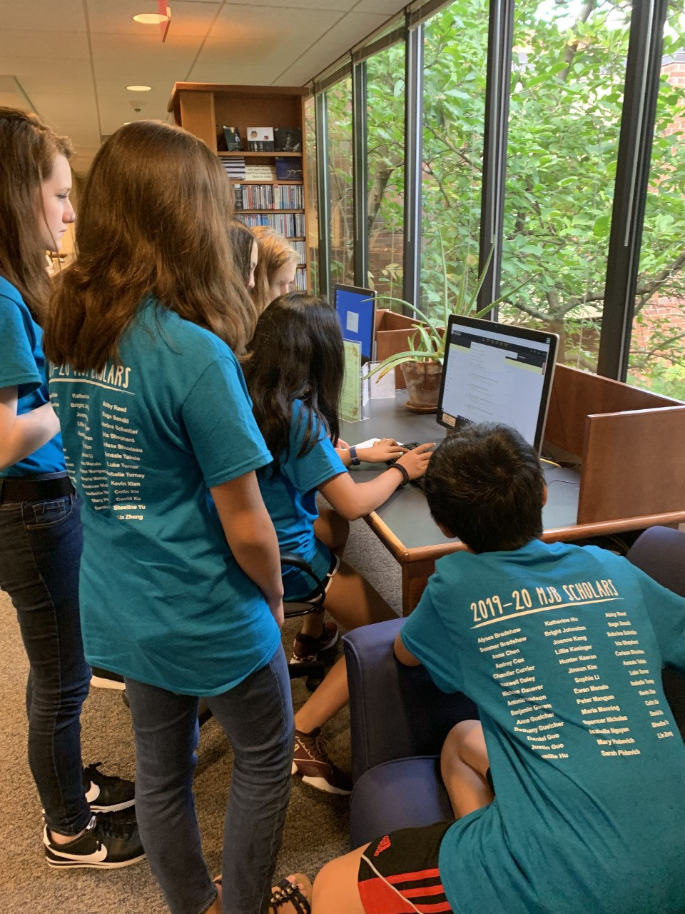 Myra Jackson Blair Scholars using the online library catalog to find their next clue, August 10, 2019.