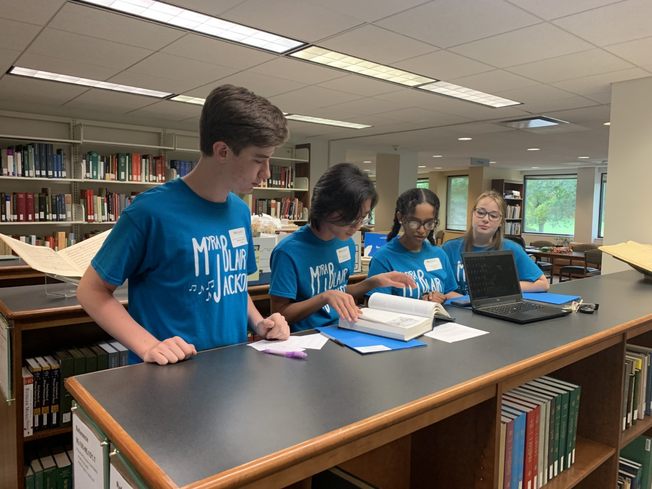 Myra Jackson Blair Scholars using the New Grove Dictionary of Music and Musicians during their library orientation session on Saturday, Aug. 10, 2019.